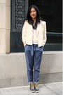 Ivory-lace-abercrombie-and-fitch-blazer-blue-pleated-habitual-pants-black-ke