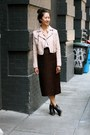 Light-pink-faux-leather-jacket-peach-blouse-dark-brown-vintage-skirt