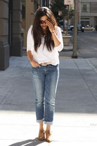 blue H&M jeans - white American Apparel top - bronze Aldo heels