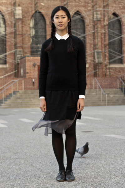 black knit JCrew sweater - black American Apparel tights - white H&M blouse