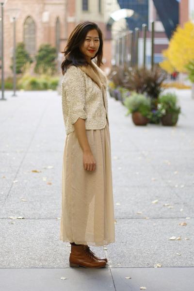 neutral romwe skirt - eggshell vintage jacket