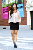black mini JCrew skirt - peach H&M blouse