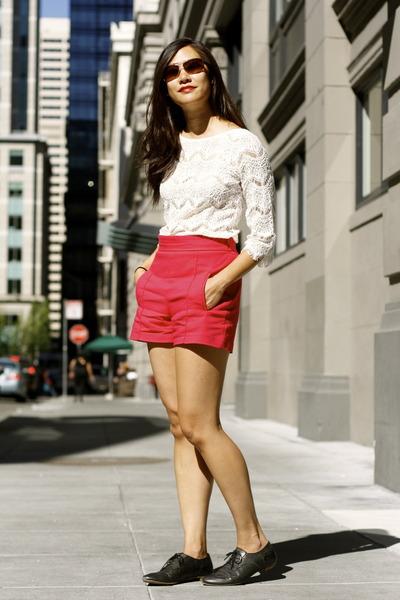 ivory lace top - hot pink Zara shorts - coach sunglasses