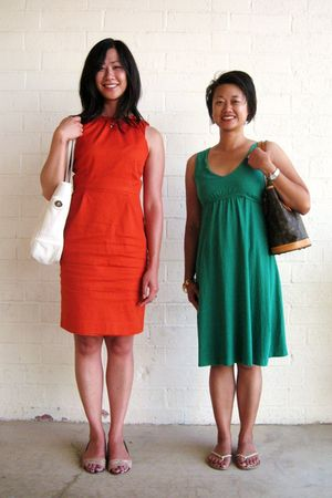 white coach purse - orange banana republic dress - brown Louis Vuitton purse - g