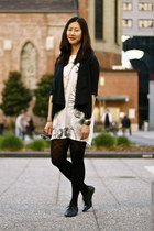 off white Zara dress - black blazer - black DKNY tights
