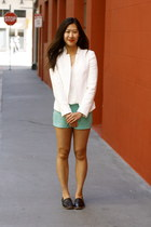 white Zara blazer - aquamarine Moddame shorts