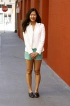 white Zara blazer - aquamarine Moddame shorts