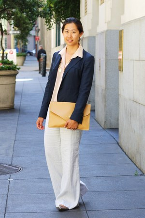 peach sheer H&amp;M blouse - navy blazer - mustard romwe purse