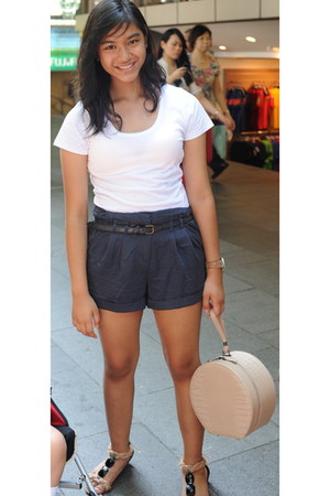 light pink Topshop bag - navy cotton on shorts - white t-shirt - camel Matthews