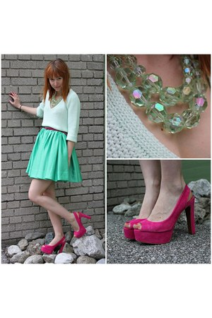 aquamarine H&M skirt - Zara jumper - hot pink Zara heels - H&M necklace