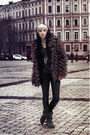 Black-zara-boots-dark-brown-stradivarius-coat-black-leggings