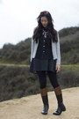 Dark-brown-riding-boots-dark-gray-wool-a-line-dress-silver-target-sweater