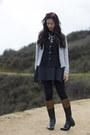Dark-brown-riding-boots-dark-gray-wool-a-line-dress-silver-target-sweater