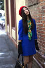 Blue-h-m-dress-red-beret-ebay-hat-green-silk-chanel-scarf
