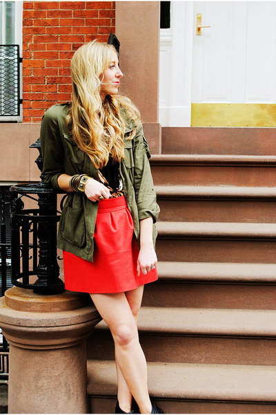 olive green H&M jacket - black Mink Pink sweater - red Zara skirt