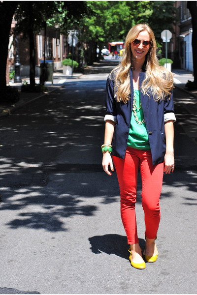 navy blazer - chartreuse top - red pants - yellow flats