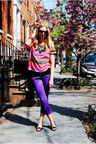 hot pink Zara shirt - deep purple old pants - black Betsey Johnson wedges