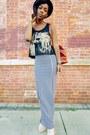 Striped-maxi-skirt-beige-lita-inspired-heels