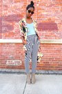 Ankle-boots-striped-pants-floral-sheer-cardigan