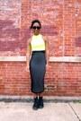 Yellow-neon-cropped-top-black-midi-motel-rocks-skirt