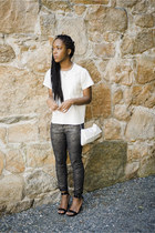 off white Front Row Shop top - gray snakeskin print Celebrity Pink jeans