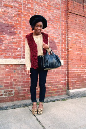 crimson fuzzy vest - brown flatform Jeffrey Campbell wedges