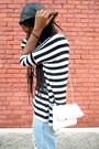 Striped-t-shirt-black-ankle-strap-calvin-klein-heels