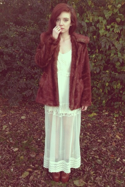 brown faux fur Forever 21 coat - ivory lace maxi Forever 21 dress