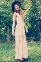 dark green gypsy warrior hat - ivory lace maxi dress Forever 21 dress