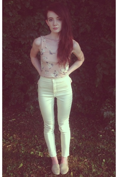 light pink BDG top - ivory American Apparel jeans