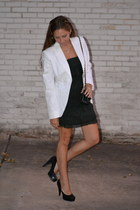 green layered barneys ny - liquid dress - white united colors of benetton blazer