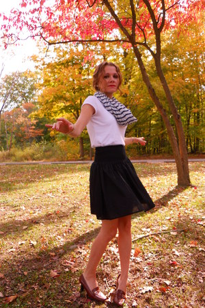 white Loft top - black H&M skirt - navy H&M scarf - brown ann taylor shoes