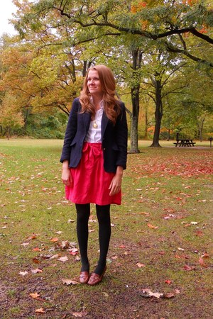 navy Evan Piccone blazer - white NY&CO blouse - red Gap skirt - black tights - b