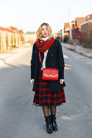 ruby red Aldo scarf - black no brand coat - silver Zara sweater