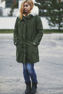 olive green Topshop coat
