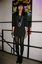 black Zara blazer - silver department store top - black Celine leggings - black