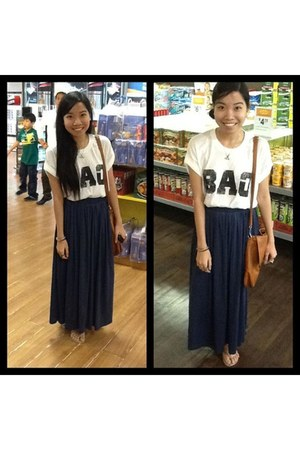 maxi skirt Jellybean skirt - white Zara shirt - tawny fab manila bag