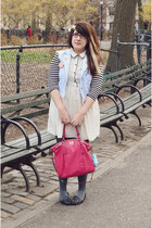 cream Forever21 dress - heather gray Target tights - hot pink coach bag