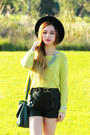 Lime-green-minkpink-sweater-black-minkpink-shorts-tooabsorb-necklace