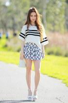 white leather EMODA shoes - geometric Choies shorts - stripe Choies top