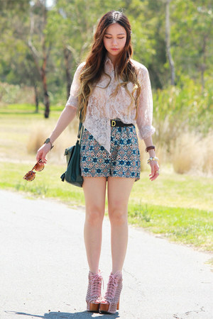 teal floral MIKA &amp; GALA shorts - pink shoes Jeffrey Campbell boots