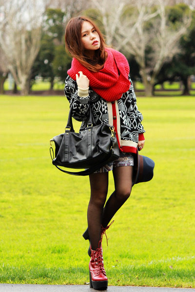 red scarf - ruby red Jeffrey Campbell boots - Sportsgirl hat