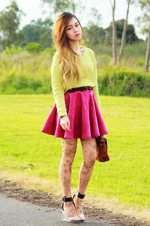 Tattoo Tights tights - MinkPink sweater - MinkPink skirt