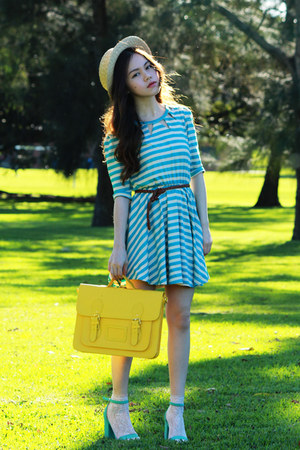 yellow bag - turquoise blue stripes dress - cream asos socks