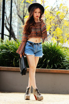 camel Jeffrey Campbell boots - dark gray asos hat - Levis shorts