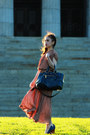 Tan-dress-teal-prada-bag-turquoise-blue-ysl-ring-gray-ss11-chanel-earrings