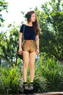 Gold-american-apparel-shorts-green-h-m-bag