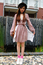 pink dress - dark brown leather bag - bubble gum socks - neutral knitted vest -
