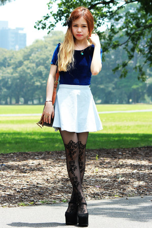 light blue American Apparel skirt - asos tights - navy American Apparel top