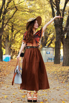 tan bardot hat - dark brown Monki skirt - burnt orange H&amp;M top - tawny platform 